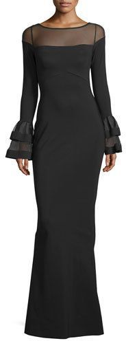 La Petite Robe di Chiara Boni Long-Sleeve Ponte Illusion Gown, Black