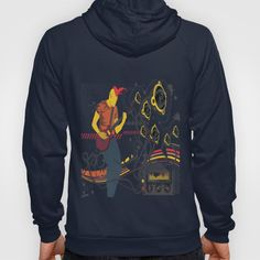 GuitarMan Sound Space Hoody by maxvision Hoody, Graphic Sweatshirt, Unisex, Zip, Space, Medium, Sweatshirts, Stuff To Buy, Navy
