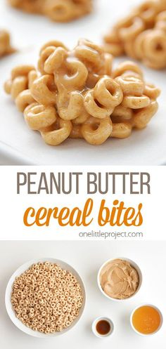 These peanut butter cereal bites are soooooo good! They're a great breakfast to grab on the run and with only 4 ingredients they're super easy to make! They're a quick, easy, and delicious snack and the kids loved them! Cereal Recipes, Snack Recipes, Afternoon Snacks, Picky Eaters, Yummy Snacks, 4 Ingredients, Summer Recipes, Kids Meals, Super Easy