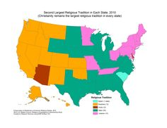 Second largest religious tradition in each state of the U.S.A