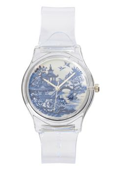 Transparent Watch with Blue and White Porcelain Motif Face