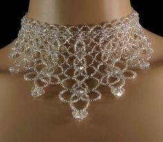 Swarovski crystal beaded bridal fringe choker. Swarovski crystal + Preciosa…