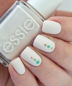 Nails with boyfriends initials 3 my nails pinterest 50 white nail art ideas prinsesfo Gallery