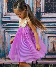 Love this Purple Sequin Collar Dress - Toddler & Girls on #zulily! #zulilyfinds