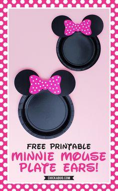 Free printable Minnie Mouse plate ears! #chickabug #freeprintable