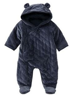 Quilted bear footed one-piece Baby boy take home outfit for winter.