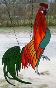Leaded Stained Glass Window Image Phoenix Rooster Single Piece In Tiffany