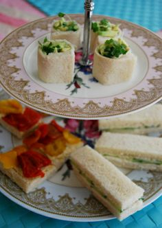 Vegan Afternoon Tea - Cucumber and cream 'cheese' sandwiches, Open top Roasted pepper and hummuos toasts and avocado and cress rolls