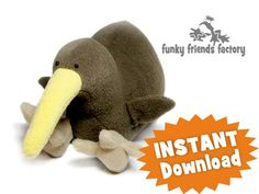 Kiwi Bird Stuffed Animal Sewing Pattern