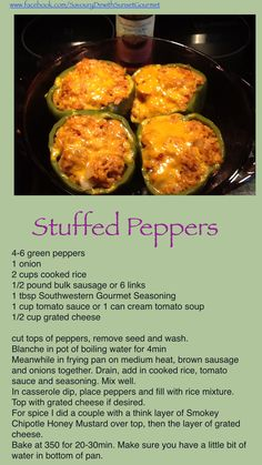 Stuffed peppers with a twist, using breakfast sausage. Gourmet Breakfast, Sausage Breakfast, Gourmet Recipes, New Recipes, Cream Of Tomato Soup, Stuffed Green Peppers, Freezer Meals, Recipe Using, Main Dishes