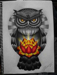 owl lotus by FraH.deviantart.com on @DeviantArt