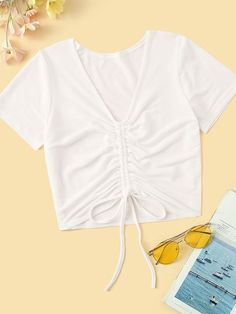 Shop Solid Drawstring Front Tee at ROMWE, discover more fashion styles online. Crop Top Outfits, Cool Outfits, Casual Outfits, Summer Outfits, Teen Fashion Outfits, Girl Fashion, Diy Clothes, Clothes For Women, Cute Shirts
