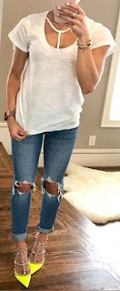 White Tee / Destroyed Skinny Jeans / Yellow Studded Pumps.White T Strap Scoop Neck Slub T-shirt Women Trending Summer Spring Fashion Outfit to Try This 2017 Great for Wedding,casual,Flowy,Black,Maxi,Idea,Party,Cocktail,Hippe,Fashion,Elegant,Chic,Bohemian