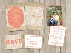 Rustic Burlap and Lace Wedding Invitation Coral save the date Modern Unique background Invite Digital Download Professional Print on Etsy, $10.00
