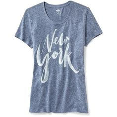 "Old Navy Graphic Print "" New York"" Tee ($12) ❤ liked on Polyvore featuring tops, t-shirts, shirts, blue, graphic tees, old navy shirts, jersey shirts, short sleeve tee and graphic design t shirts"