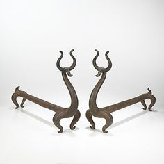 Lot 445: Russel Wright. Fire Deer andirons. c. 1930, cast iron. 6½ w x 21½ d x 15½ h in. estimate: $10,000–15,000. Literature: Collector's Encyclopedia of Russel Wright, Kerr, pg. 15.