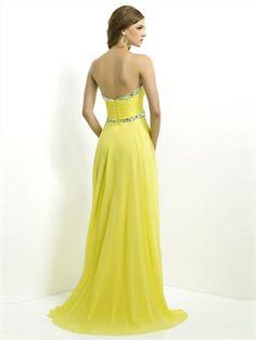 A-line strapless sweetheart beaded chiffon daffodil prom Dresses MDPK00024