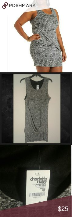 Gray knit dress *Feel free to make reasonable offers!   Plus size adorable gray dress, perfect for Fall with a leather jacket and booties or pretty burgundy / Olive cardigan !  Lined bodycon knit dress with knot wrap in front , color is a gray / black.  3X.  Tags: torrid, forever 21 plus , f21 , maurices, Charlotte Russe, Rue+ , 2X , XXL , XXXL Charlotte Russe Dresses Mini