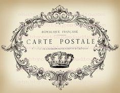 DIGITAL Download Large Format Image Carte Postale Crown via Etsy postal sepia marco carte postale coronita