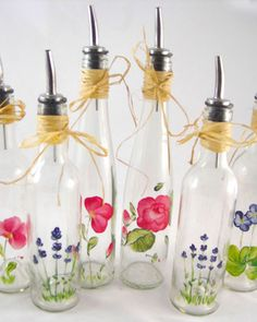 hand-painted glass bottles ~ From the Heart by Yvonne