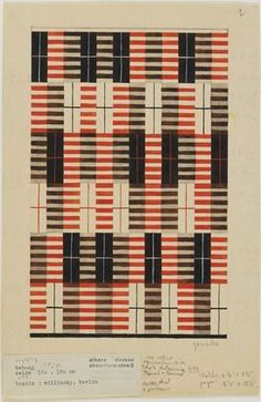 Design for Wall Hanging. Gouache on paper. © 2019 The Josef and Anni Albers Foundation / Artists Rights Society (ARS), New York. Architecture and Design Weaving Textiles, Weaving Patterns, Textile Patterns, Textile Design, Print Patterns, Atelier Architecture, Graphic Design Magazine, Magazine Design, Bauhaus Textiles