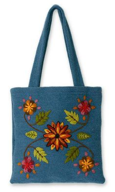 Unique Wool Embroidered Tote Bag from Peru - Autumn Flowers Diy Tote Bag, Reusable Tote Bags, Crotchet Patterns, Felt Purse, Tote Pattern, Denim Bag, Fall Flowers, Canvas Tote Bags, Purses