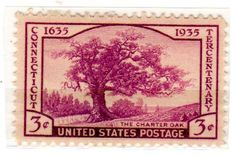 Postage Stamps United States. One Single 3 Cents Violet Charter Oak, Connecticut Tercentenary Issue Stamp Dated 1935, Scott #772. null