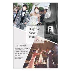 Stylish Black 結婚報告年賀状デザイン【セミオーダー/データ納品】