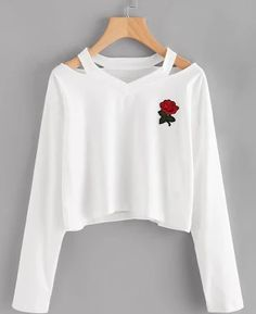 Cheap women sweatshirt, Buy Quality sudaderas mujer directly from China sweatshirt harajuku Suppliers: Cropped Sudaderas Mujer 2017 Holes Harajuku Women Sweatshirt Harajuku Long Sleeve Black Rose Long Sleeve Jumpers Survetement Girls Fashion Clothes, Teen Fashion Outfits, Outfits For Teens, Polo Fashion, Fast Fashion, Fashion Shirts, Fashion Women, Fashion Black, Fashion Spring