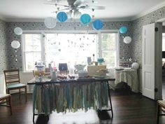 Vintage Shabby Chic Baby Shower for a Boy - we love the balloons and heart garland!