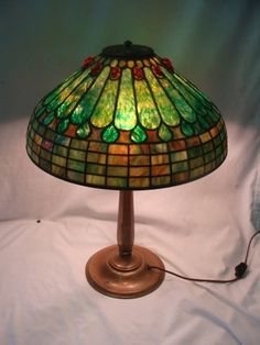 """Tiffany Jeweled Feather 16"""" Diameter Table Lamp"""