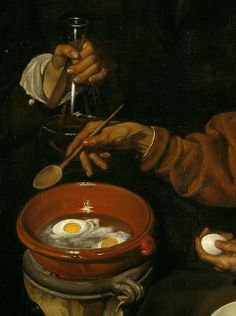 An Old Woman Cooking Eggs, oil on canvas, detail (1618) Diego Rodríguez de Silva y Velázquez