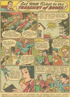 Superman say to go to the Library! Comic Book Panels, Through Time And Space, Librarians, Ticket, Superman, You Got This, Public, Comic Books, Comics