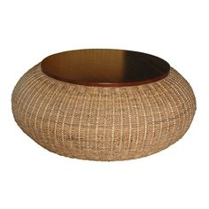 Jeffan International R3-03 Bianca Round Coffee Table  Bianca Round Cocktail TableHandwoven with twisted abaca combined with solid mahogany accents Includes