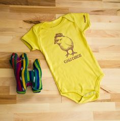 Organic Cali Chick Onesie 3-6m 6-12m Hippie Farmer Baby Homegrown Yellow Brown Handmade Vintage Farm Inspired California Girl Clothes by PlataArt on Etsy
