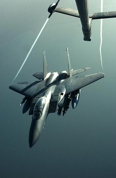 Credit: US Air Force photo.Wingtip vortices are visible trailing from an Strike Eagle as it disengages from midair refueling with a Extender during Operation Iraqi Freedom. Military Jets, Military Aircraft, Air Fighter, Fighter Jets, The Right Stuff, Us Air Force, Jet Plane, Fighter Aircraft, Cool Photos