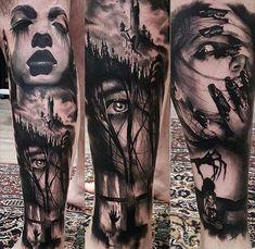 Arm Tattoo Horror Scary Blood Horror Tattoos, Scary Tattoos, Dope Tattoos, 3d Tattoos, Badass Tattoos, Forearm Tattoos, Black Tattoos, Tattoos For Guys, Body Art Tattoos