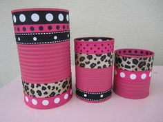 Set of 3 LEOPARD PRINT Decorative Buckets/Tins by partiesgalore, $10.00
