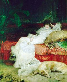 sarah bernhardt by georges jules victor clairin, 1878.  he was her favorite portraitist.