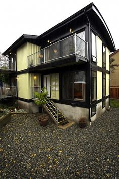 Zigloo - Keith Dewey used shipping containers to create a 2,000 square-foot home in Victoria, British Columbia. Using the recycled container building blocks, which only cost Dewey a few thousand dollars each, he was able to build his Zigloo, a three-bed/two-bath home with an open floor plan, five balconies and a full basement.