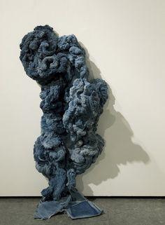 Hanne Friis Textile Sculpture, Soft Sculpture, Textiles, Textile Patterns, Denim Art, Artistic Installation, Textile Artists, New Art, Fiber Art