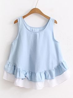 SheIn offers Contrast Hem Layered Ruffle Tank Top & more to fit your fashionable needs.Shugo Wynne Mori Girl Doll Shirt 2017 Summer New Women Cute O-neck Sleeveless Ruffles Hem Casual Shirt Blue Lovely Girl TopsDesigner Clothes, Shoes & Bags for Wom Baby Girl Dress Patterns, Little Girl Dresses, Baby Dress, Baby Girl Fashion, Kids Fashion, Fashion Outfits, Fashion Styles, Baby Frocks Designs, Frock Design