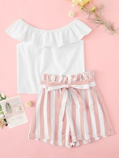 To find out about the Girls Ruffle Trim Top & Paperbag Waist Striped Belted Shorts Set at SHEIN, part of our latest Girls Two-piece Outfits ready to shop online today! Teenage Girl Outfits, Girls Fashion Clothes, Kids Outfits Girls, Summer Fashion Outfits, Cute Outfits For Kids, Cute Summer Outfits, Girly Outfits, Cute Casual Outfits, Cute Fashion