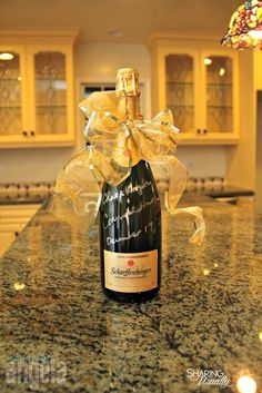Visiting a friend in their new home?  This is such a simple yet perfect idea for a housewarming gift.  Simply purchase a bottle of champagne or wine, tie a bow around the neck and write: Name & Name Congratulations! Date of Closing (or move-in, etc)   Also, a great idea for real estate agents to …