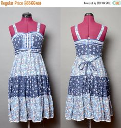20% OFF SALE Bohemian Dress 90's Grunge Hippie Floral Blue Summer 1990's Boho Vintage Women's Sleeveless Small Midi Dress Tie Back Lace Embe by HankAndGeorge on Etsy https://www.etsy.com/listing/228108636/20-off-sale-bohemian-dress-90s-grunge