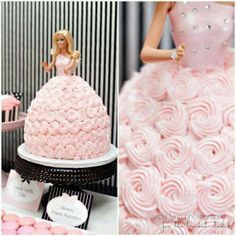 Barbie cake ~ I often had a doll or Barbie cake for my birthday.  It was always pink and looked very similar to this one.  :)