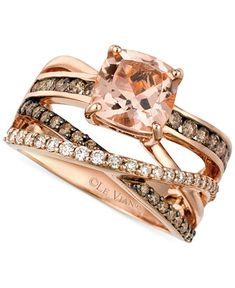 Le Vian Morganite (1-3/4 ct. t.w.) and Diamond (3/4 ct. t.w.) Ring in 14k Rose Gold - Rings - Jewelry & Watches - Macy's