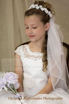 Christian Expressions stocks a variety of first communion veils including headbands, wreaths, bun wraps, crowns, tiaras, clips