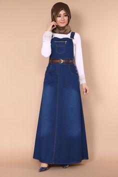 Önü Fermuar Detay Kot Jile Koyu Kot Ürün kodu: MSW8558 --> 89.90 TL Jean Dress Outfits, Demin Dress, Denim Overall Dress, Modest Outfits, Muslim Fashion, Hijab Fashion, Fashion Outfits, Nigerian Lace Dress, Denim Frocks