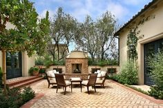 Patio - beautiful courtyard with fireplace and short chimeny - herringbone pattern floor - gorgeous | AMS Landscape Design Studios, Inc.